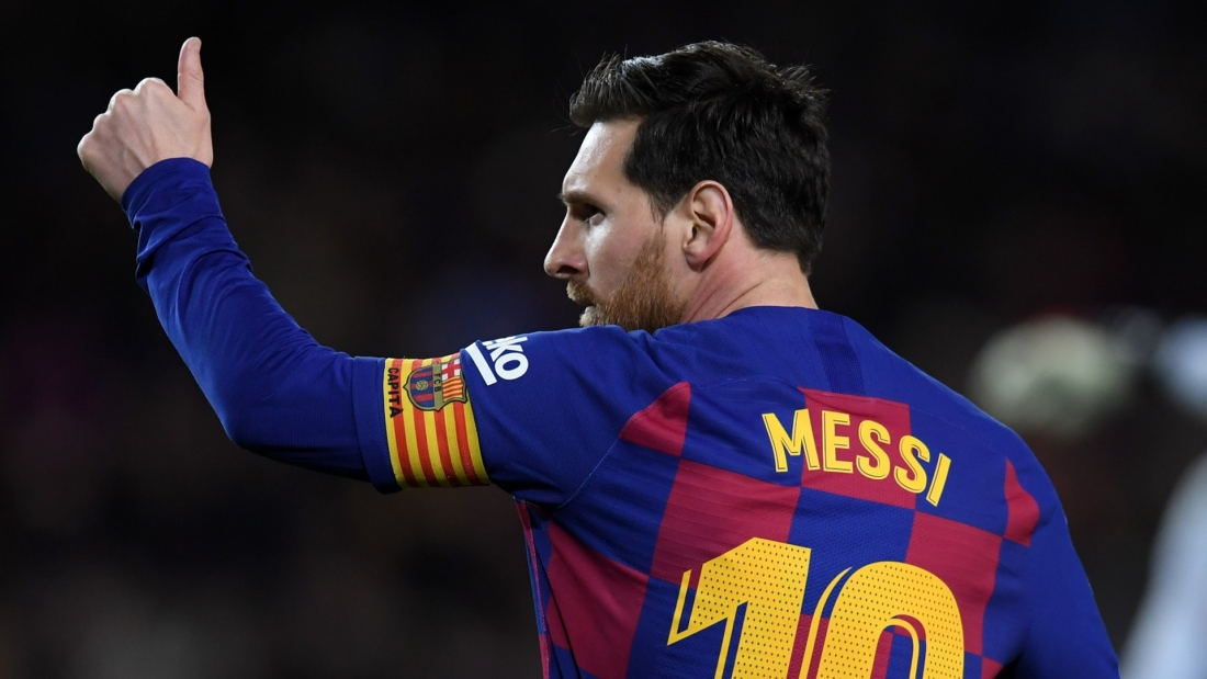 BARCELONA, SPAIN - MARCH 07: Lionel Messi of FC Barcelona celebrates after scoring his team's first goal  during the La Liga match between FC Barcelona and Real Sociedad at Camp Nou on March 07, 2020 in Barcelona, Spain. (Photo by Alex Caparros/Getty Images)